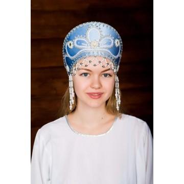 Кокошник «Виктория» голубой для русских народных танцев