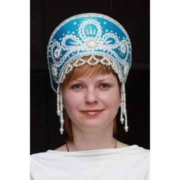 Кокошник «Виктория» бирюзовый для русских народных танцев