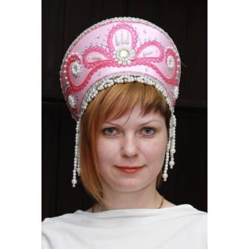 Кокошник «Виктория» розовый для русских народных танцев