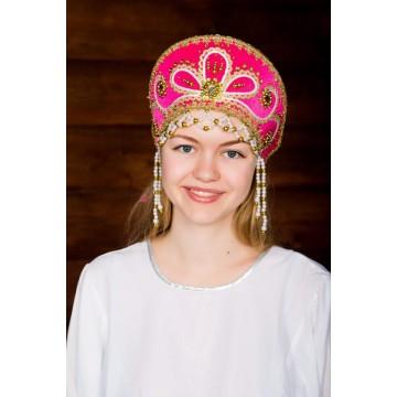 Кокошник «Виктория» малиновый для русских народных танцев