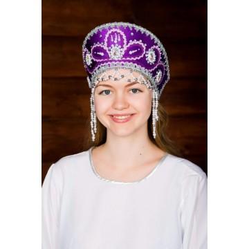 Кокошник «Виктория» фиолетовый для русских народных танцев