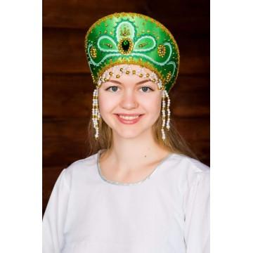 Кокошник «Виктория» зеленый для русских народных танцев