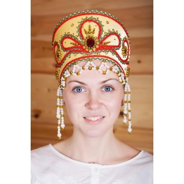 Кокошник «Виктория» золотой для русских народных танцев