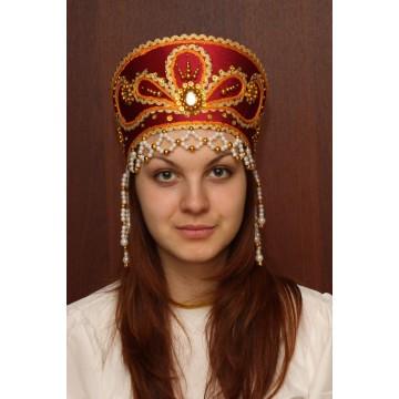 Кокошник «Виктория» бордовый для русских народных танцев