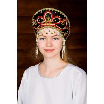Кокошник «Виктория» черный для русских народных танцев