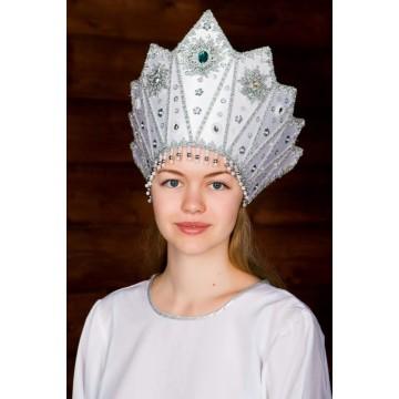 Кокошник «Сказка» белый для русских народных танцев