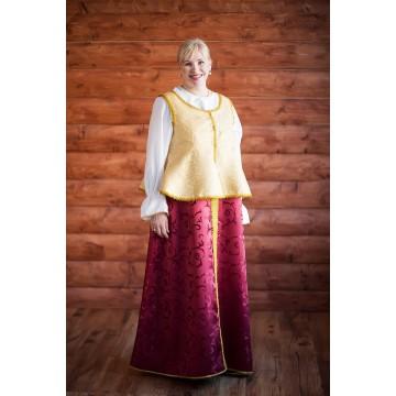 Сарафан «Павушка» бордо с золотом для русских народных танцев