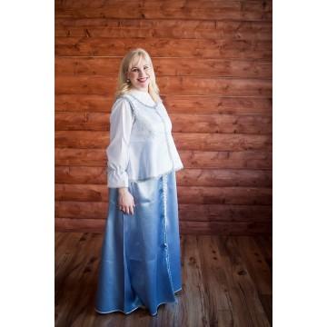 Сарафан «Павушка» голубой с серебром для русских народных танцев