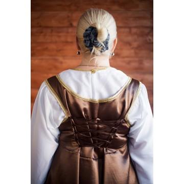 Сарафан «Павушка» коричневый с золотом для русских народных танцев