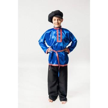 Косоворотка «Дмитрий» синяя для русских народных танцев