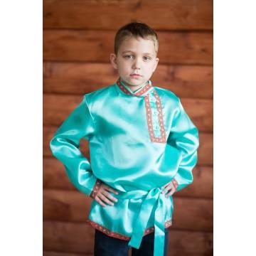 Косоворотка «Дмитряя» бирюзовая для русских народных танцев