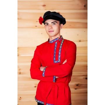 Косоворотка «Емеля» красная для русских народных танцев