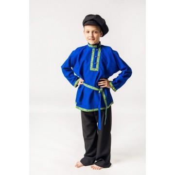 Косоворотка «Емеля» синяя для русских народных танцев