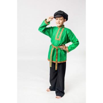 Косоворотка «Емеля» зеленая для русских народных танцев