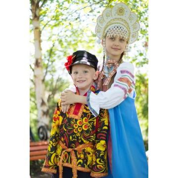 Косоворотка «хохлома» черная для русских народных танцев