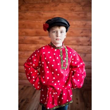Косоворотка «Кузя» красная в горох для русских народных танцев