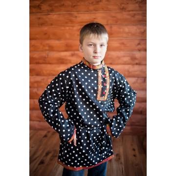 Косоворотка «Кузя» чёрная в горох для русских народных танцев
