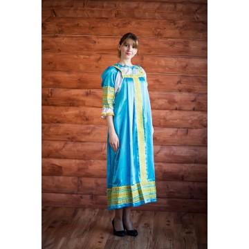 Сарафан «Алёнушка» голубой для русских народных танцев