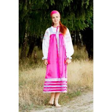 Сарафан «Алёнушка» розовый для русских народных танцев