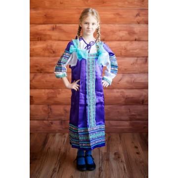Сарафан «Алёнушка» фиолетовый для русских народных танцев