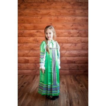 Сарафан «Алёнушка» зеленый для русских народных танцев