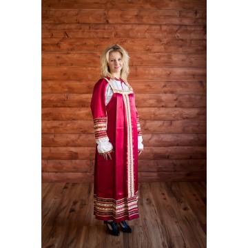 Сарафан «Алёнушка» бордо для русских народных танцев