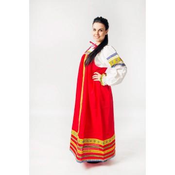 Сарафан «Дарья» красный для русских народных танцев