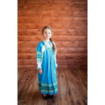 Сарафан «Дарья» голубой для русских народных танцев