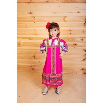 Сарафан «Дарья» розовый для русских народных танцев
