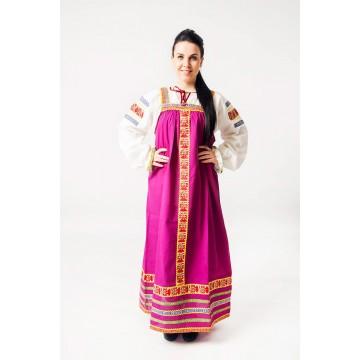 Сарафан «Дарья» фиолетовый для русских народных танцев