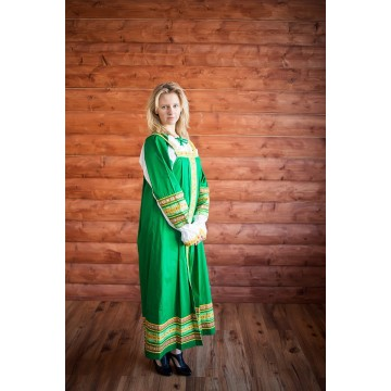 Сарафан «Дарья» зеленый для русских народных танцев