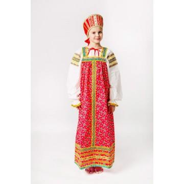 Сарафан «Наталья» красный для русских народных танцев