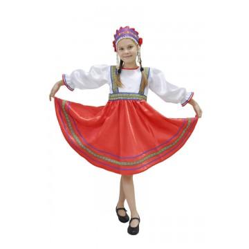 Платье «Сияна» красное для русских народных танцев