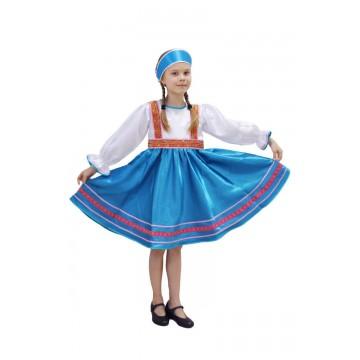 Платье «Сияна» синее для русских народных танцев