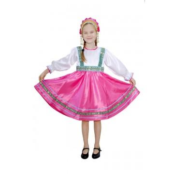 Платье «Сияна» розовое для русских народных танцев
