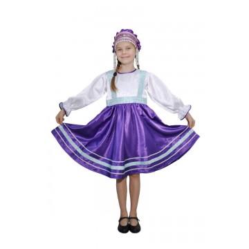 Платье «Сияна» фиолетовое для русских народных танцев