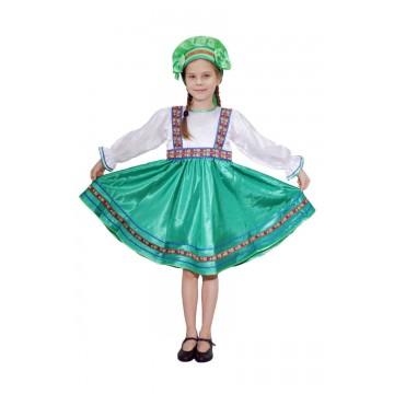 Платье «Сияна» зеленое для русских народных танцев