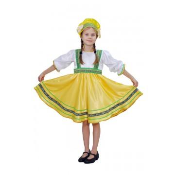 Платье «Сияна» желтое для русских народных танцев