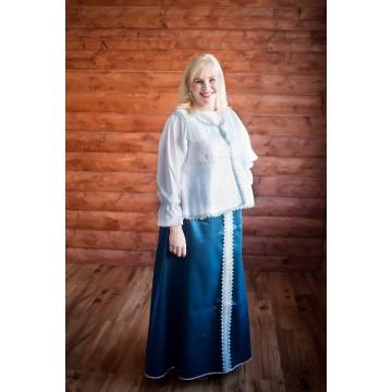 Сарафан «Павушка» синий с серебром для русских народных танцев