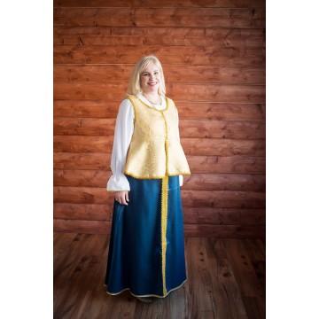 Сарафан «Павушка» синий с золотом для русских народных танцев
